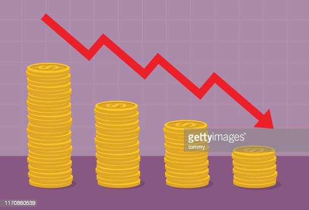 coin stack with red arrow go down - moving down stock illustrations