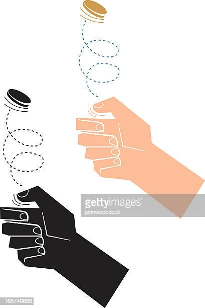 coin toss - flipping a coin stock illustrations