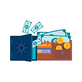 Coins, banknotes and credit cards in a wallet and a half-open safe with paper dollar bills