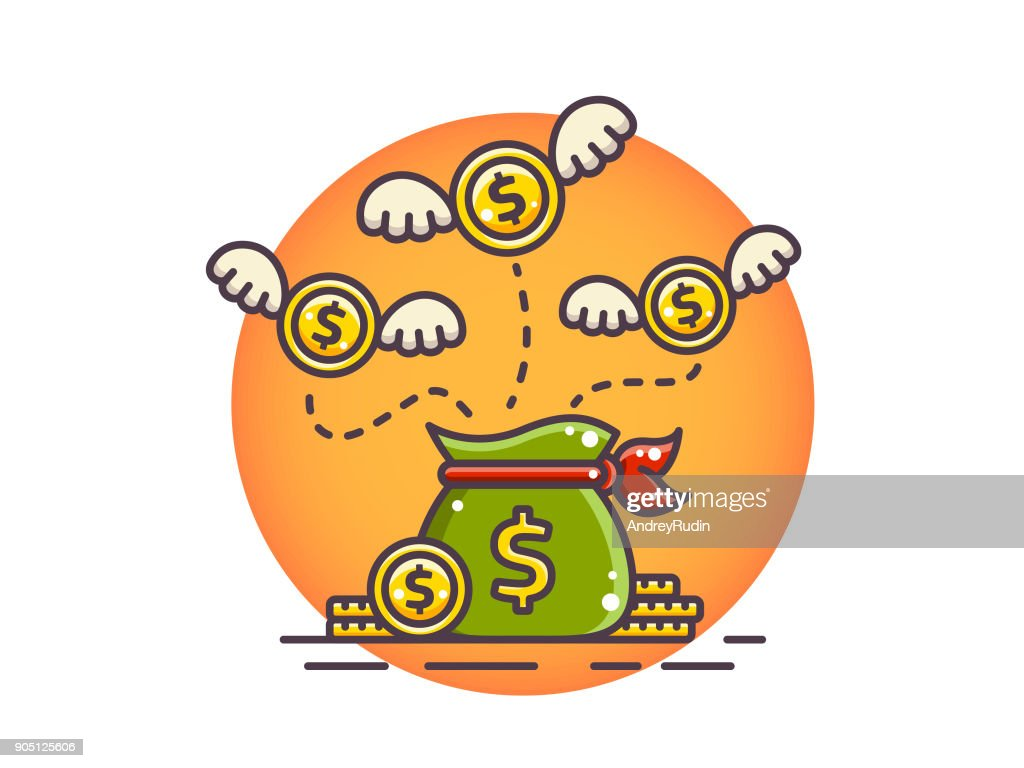 Coins dollar with wings flying over money sack