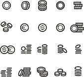 Coins line icons. Money, tax, earn and cash outline vector symbols isolated