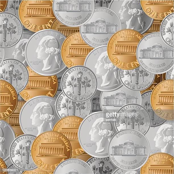 硬貨シームレスな - 5セントコイン点のイラスト素材/クリップアート素材/マンガ素材/アイコン素材