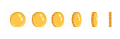 Coins set of vector sprites for rotation animation. Isolated gold coin. For mobile, desktop and web applications and games. Digital currency