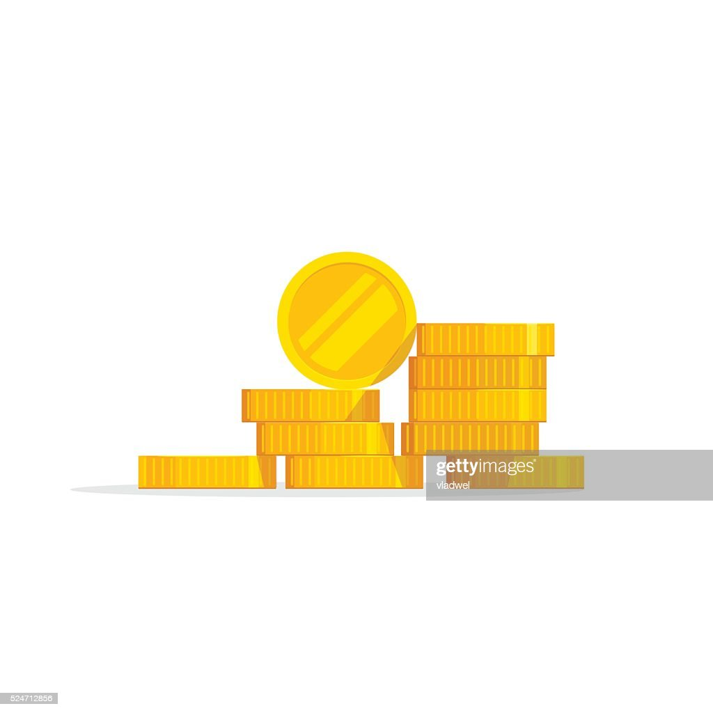 Coins stack vector illustration, icon flat, pile money isolated