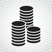 Coins stack vector illustration. Money stacked coins icon in flat style. Simple business concept pictogram.