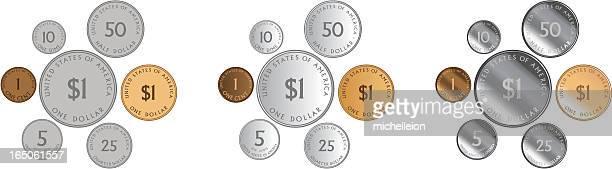 米国硬貨 - 5セントコイン点のイラスト素材/クリップアート素材/マンガ素材/アイコン素材
