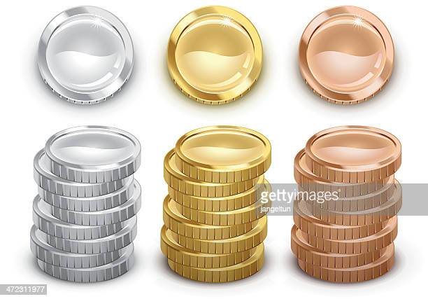 coins - silver metal stock illustrations