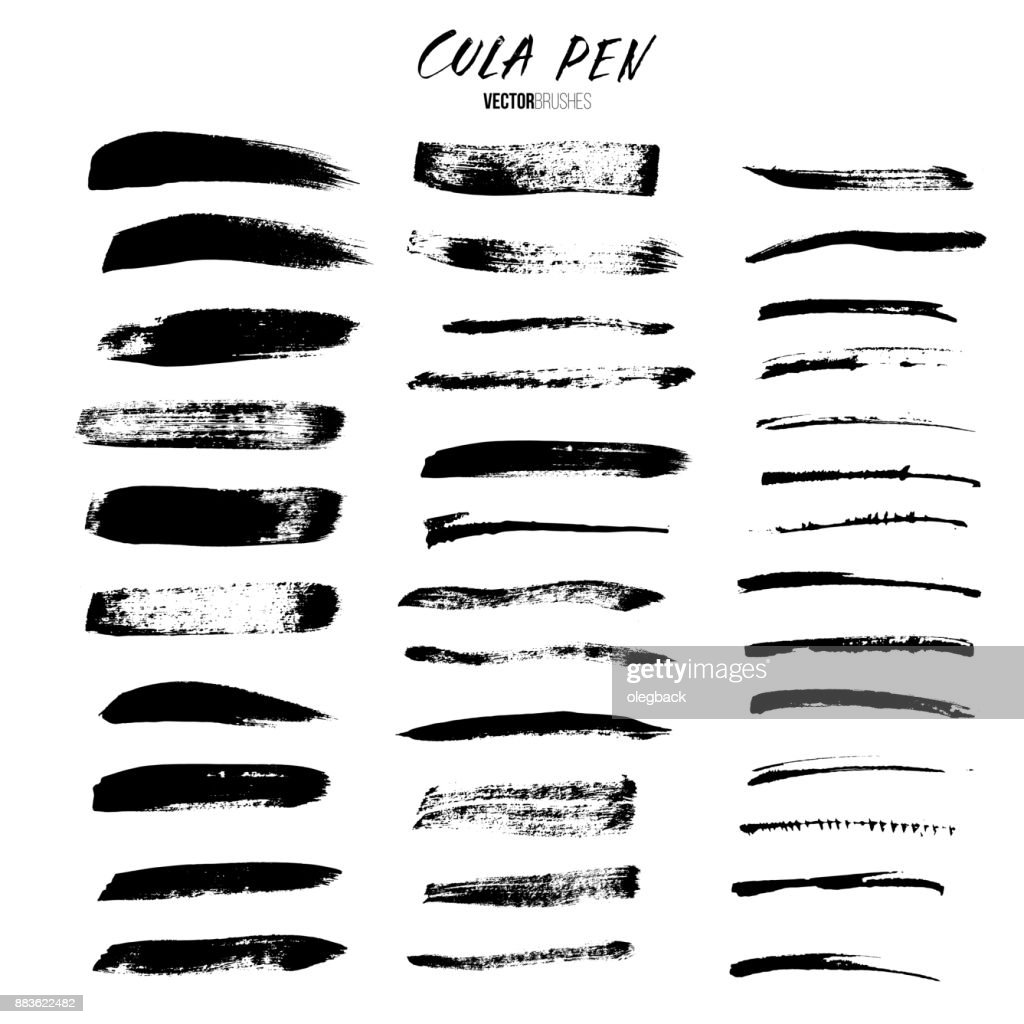 Cola pen and brushes vector set. Brushes isolated on white background.