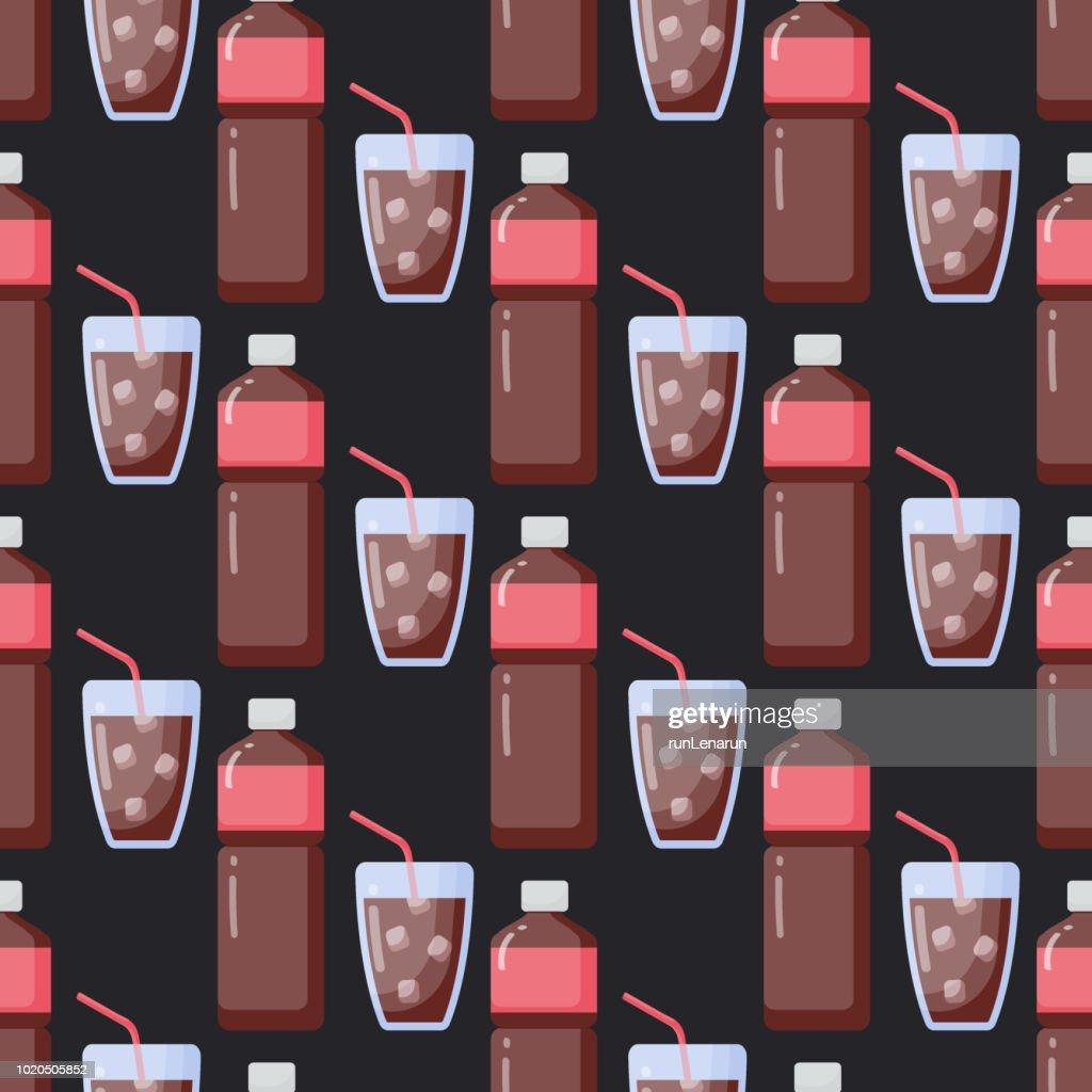 Cola vector flat seamless pattern