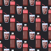 Cola vector flat seamless pattern