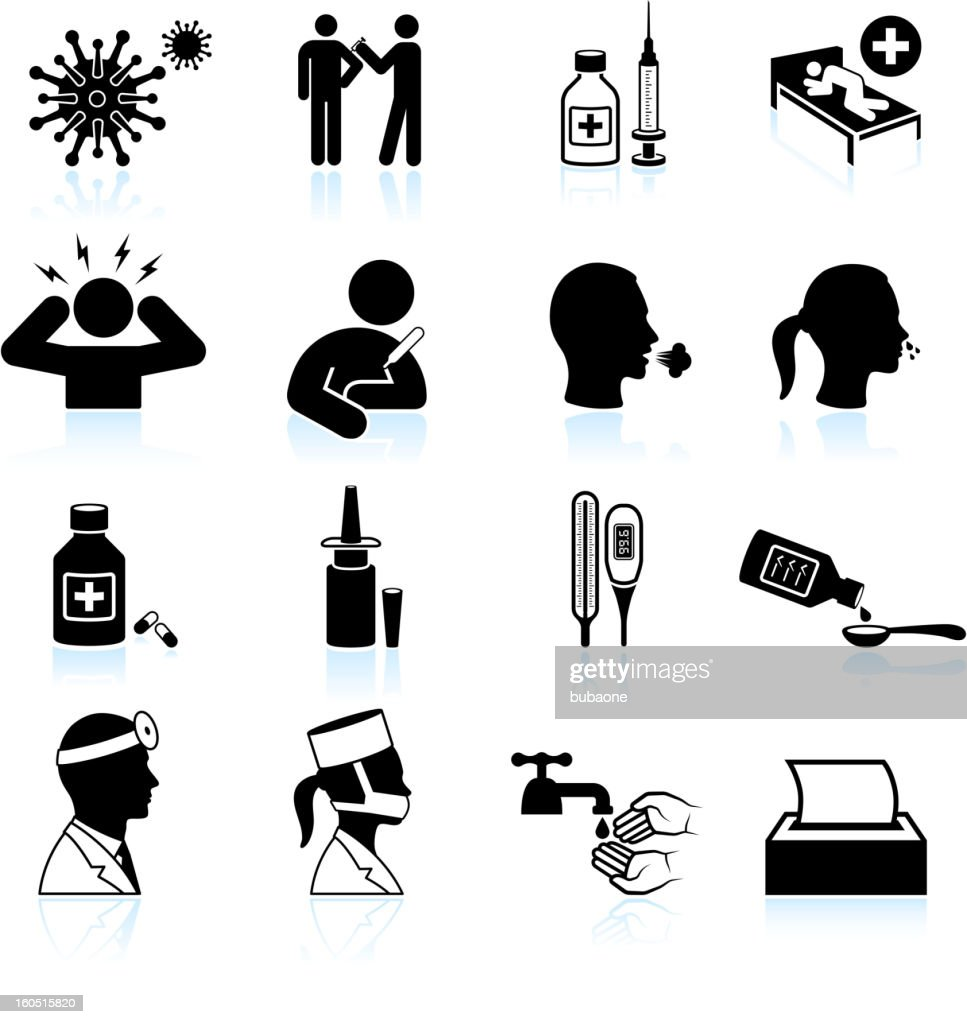 cold and flu black & white vector icon set : stock illustration