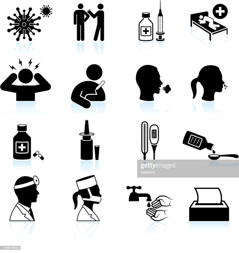 cold and flu black & white vector icon set