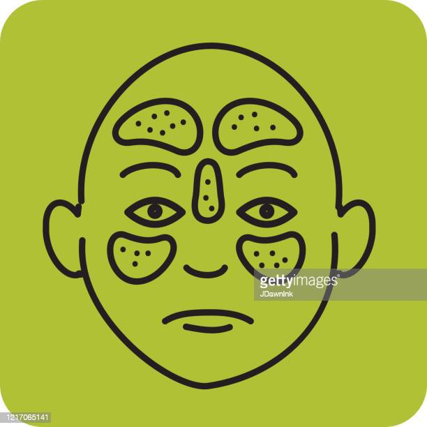 cold and flu virus medical sinusitis symptoms line art icon - nasal passage stock illustrations