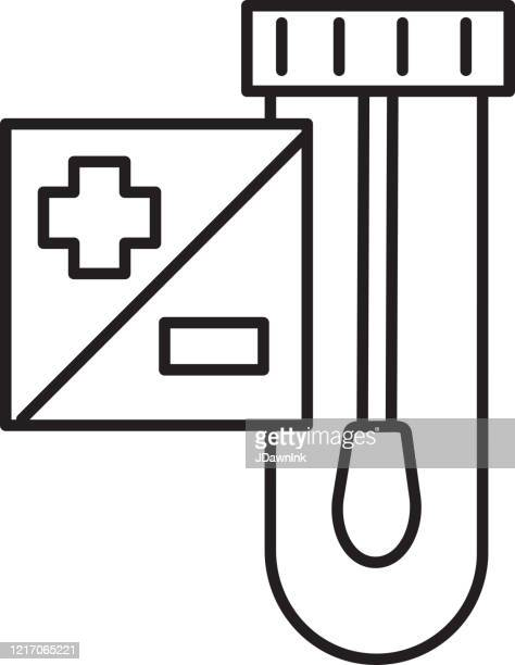 cold and flu virus test kit with test tube and cotton swab - clip art stock illustrations