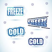 cold and freeze letters design - vector illustration