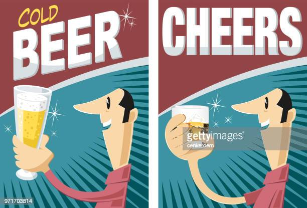 cold beer and whiskey - lager stock illustrations, clip art, cartoons, & icons