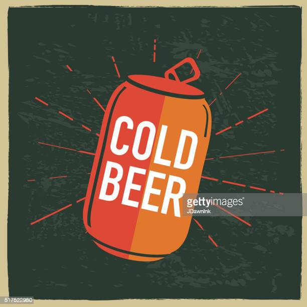 cold beer can label design with text - can stock illustrations