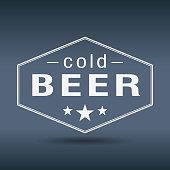 cold beer hexagonal white vintage retro style label