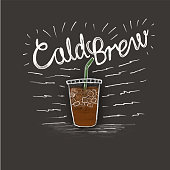 cold brew and a cup of coffee in style lettering on black background