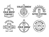 Cold brew coffee and nitro coffee badges.