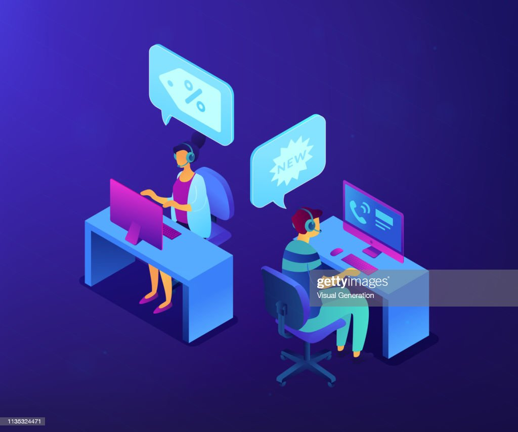 Cold calling isometric 3D concept illustration.