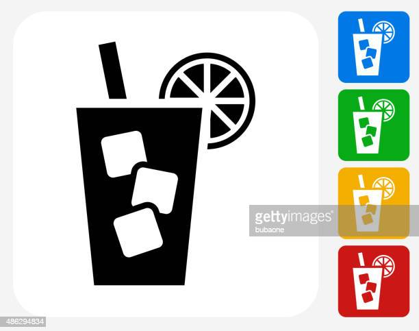 cold drink icon flat graphic design - juice drink stock illustrations, clip art, cartoons, & icons