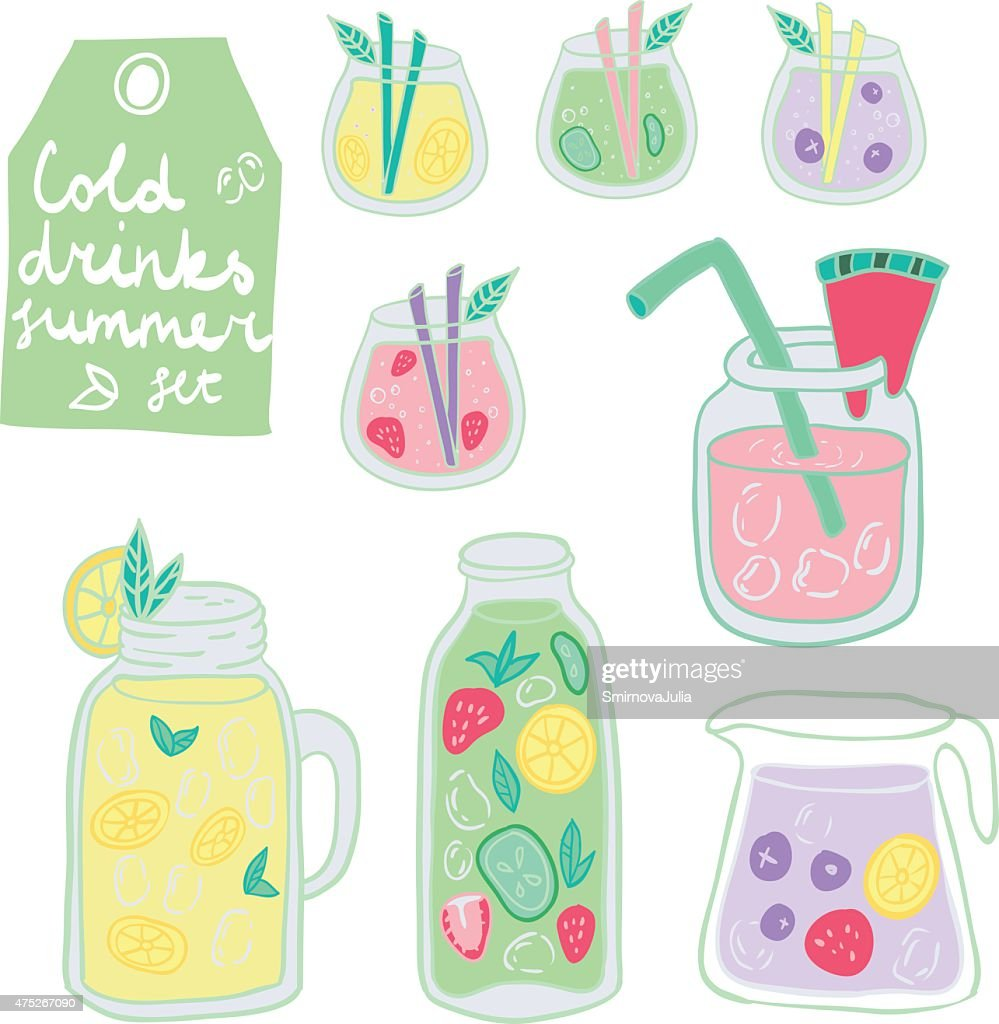 Cold Fresh Drinks Vector Summer Set
