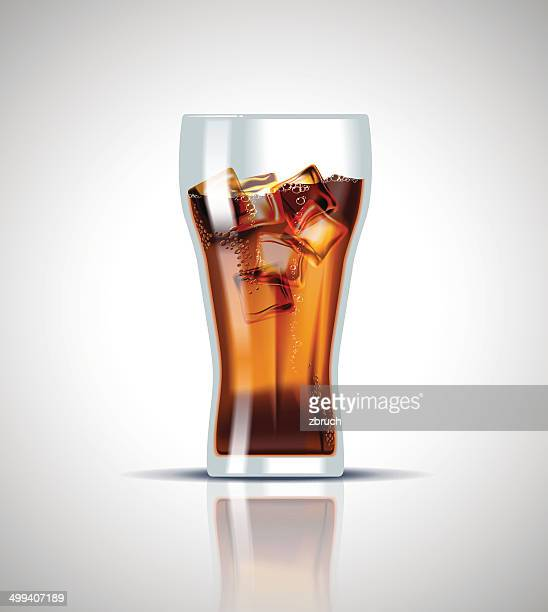 cold soda drink with ice cubes - pepsi stock illustrations