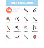 Cold steel arms - modern line design icons set