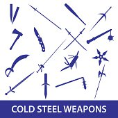cold steel weapons icons eps10
