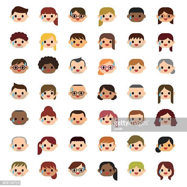 kaltschweiß menschen ikonen - große personengruppe stock-grafiken, -clipart, -cartoons und -symbole