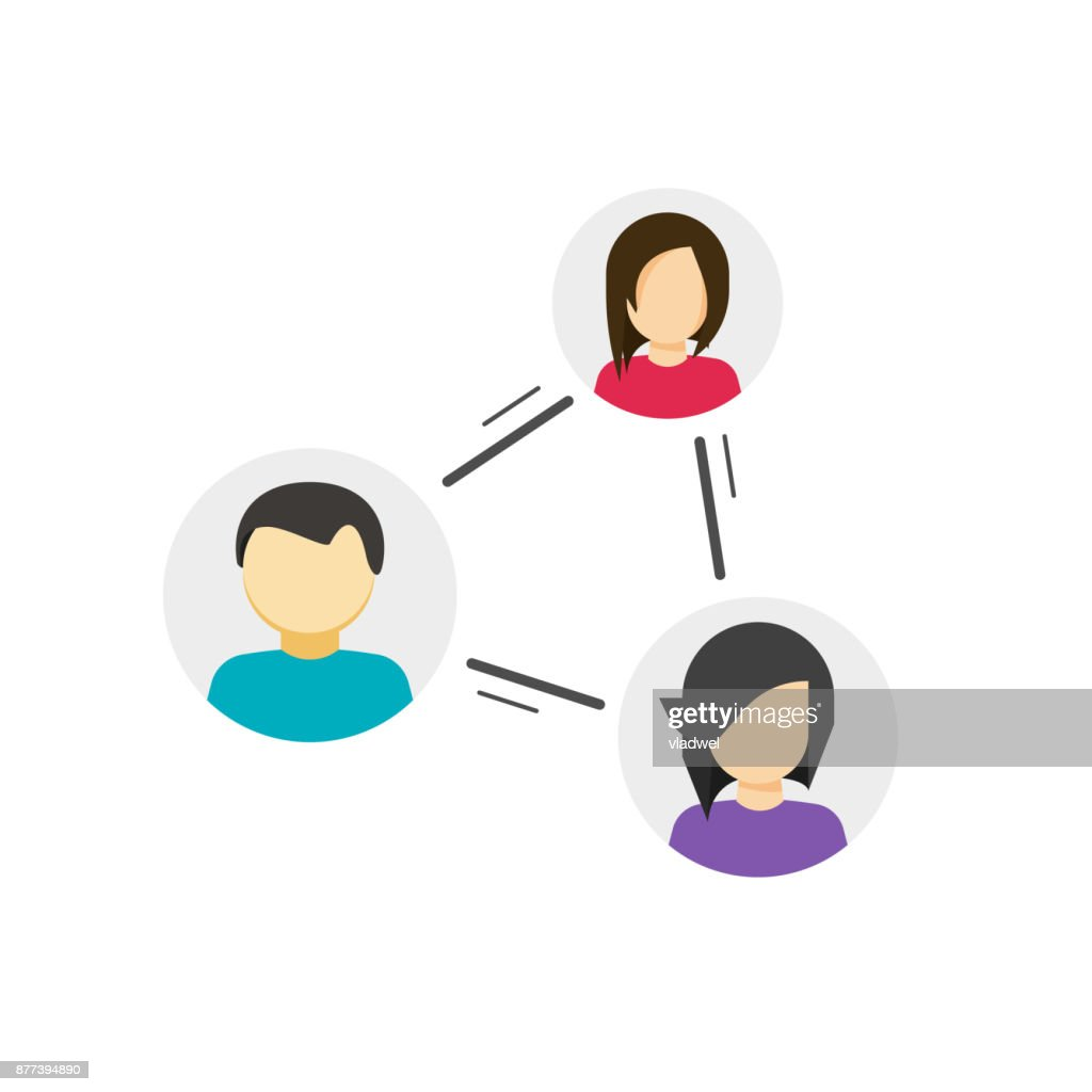 Collaborate or share links between community vector icon, concept of peer, link between social people, persons relation circle, group communication or connection, collaboration network, relationship