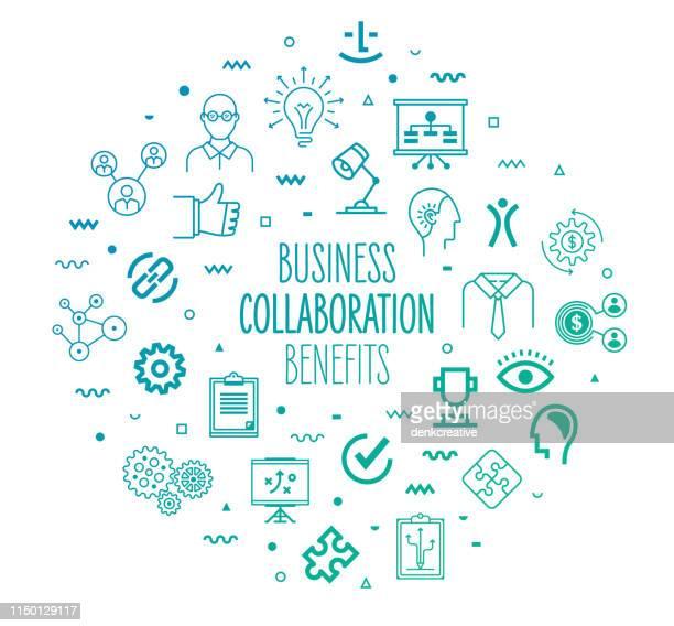zusammenarbeit über organisationen outline style infographisches design - hingabe stock-grafiken, -clipart, -cartoons und -symbole
