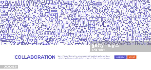ilustrações, clipart, desenhos animados e ícones de banner de colaboração - união