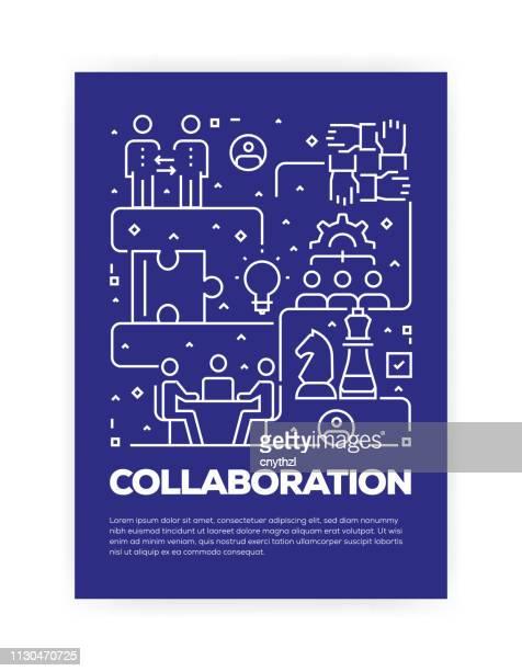 zusammenarbeit konzept line style cover-design für jährliche bericht, flyer, broschüre. - jährliches ereignis stock-grafiken, -clipart, -cartoons und -symbole