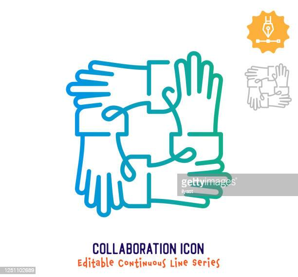 collaboration continuous line editable stroke line - employee engagement stock illustrations