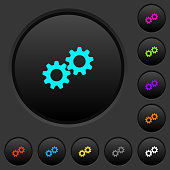 Collaboration dark push buttons with color icons