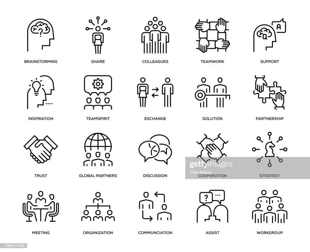 Collaboration Icon Set : Stock Illustration