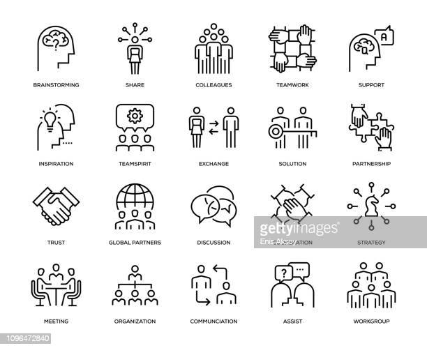 collaboration icon set - line art stock illustrations