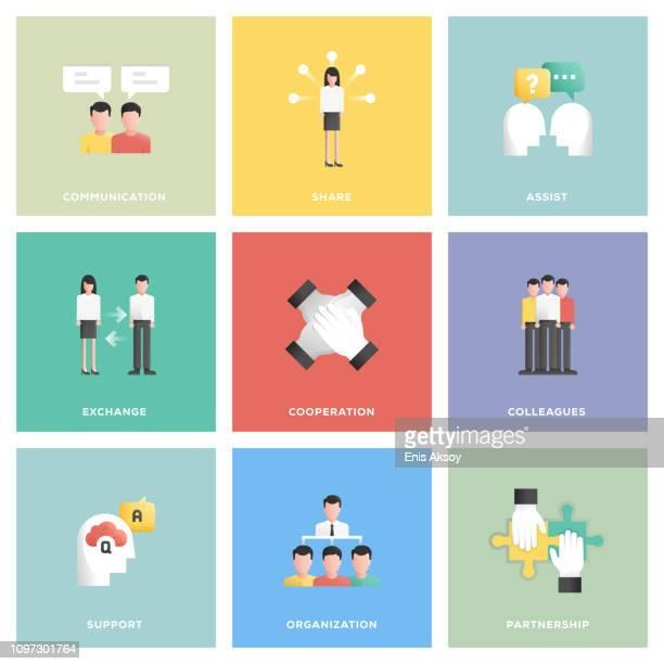 zusammenarbeit-icon-set - meeting stock-grafiken, -clipart, -cartoons und -symbole
