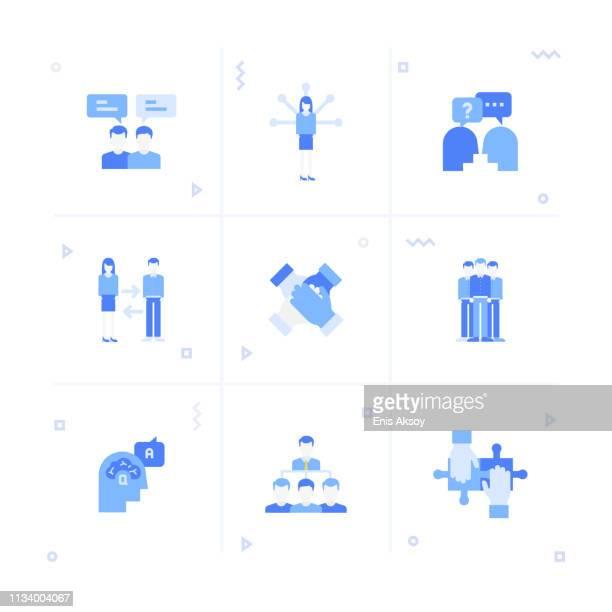 illustrazioni stock, clip art, cartoni animati e icone di tendenza di set di icone collaborazione - collega d'ufficio