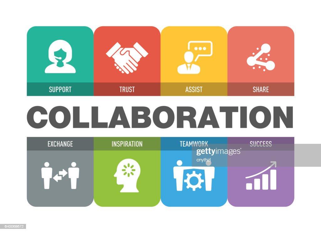 Collaboration Icon Set : stock illustration