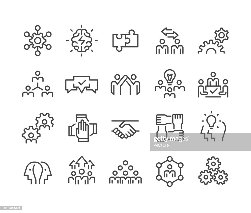 コラボレーションアイコン - クラシックラインシリーズ : ストックイラストレーション