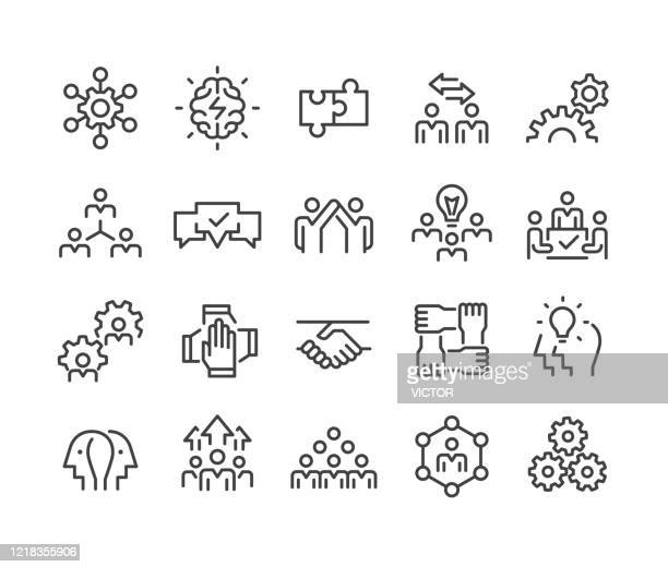 collaboration icons - classic line series - diversity stock illustrations