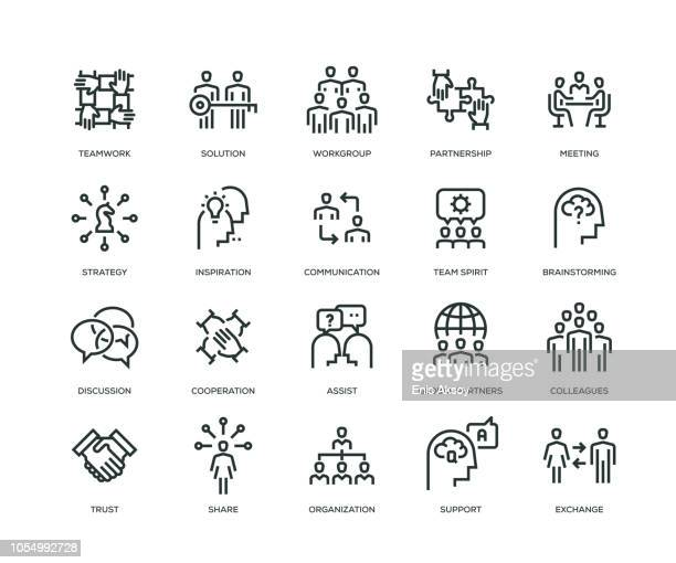 collaboration icons - line series - representing stock illustrations