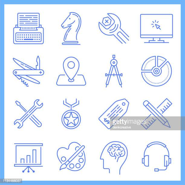 collaboration in online communities blueprint style vector icon set - online advertising stock illustrations, clip art, cartoons, & icons