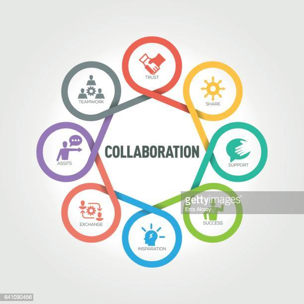 collaboration infographic with 8 steps, parts, options - partnership teamwork stock illustrations