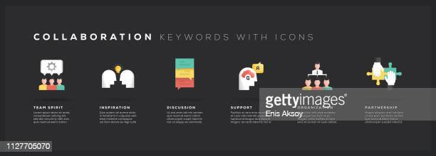 collaboration keywords with icons - cooperation stock illustrations