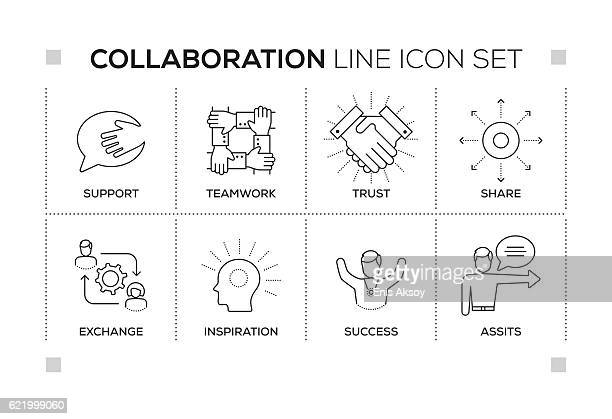 Collaboration keywords with monochrome line icons