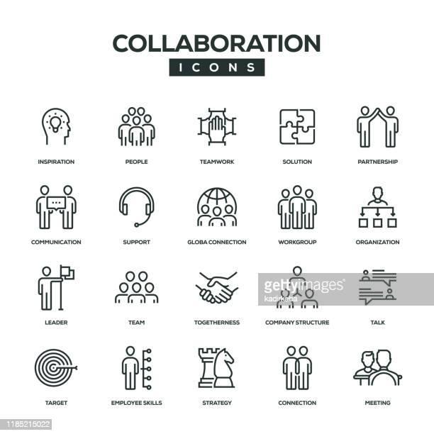 ilustraciones, imágenes clip art, dibujos animados e iconos de stock de conjunto de iconos de línea de colaboración - compromiso de los empleados